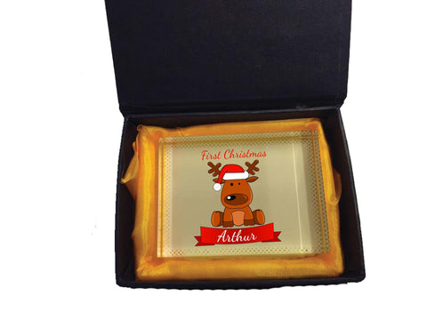 BB04 - Santa's Reindeer First Christmas Personalised Crystal Block with Presentation Gift Box