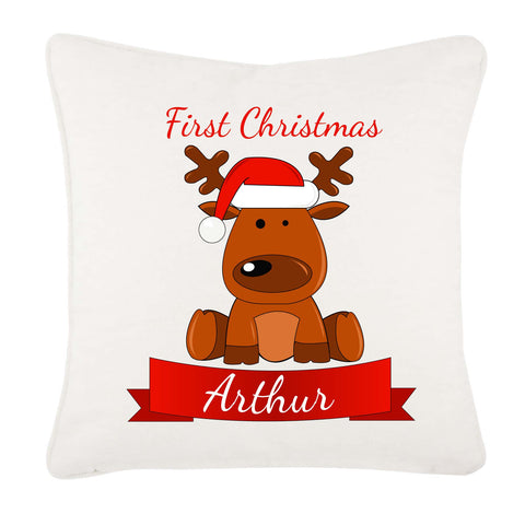 Santa's Reindeer First Christmas Personalised Canvas Cushion Cover