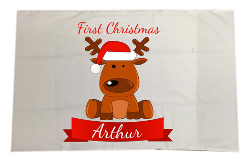 BB04 - Santa's Reindeer First Christmas Personalised White Pillow Case Cover