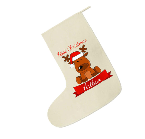 BB04 - Santa's Reindeer First Christmas Personalised Canvas Santa Stocking