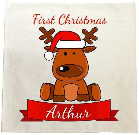 BB04 - Santa's Reindeer First Christmas Personalised Tea Towel