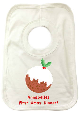 BB05 - Baby's First Christmas Pudding Personalised Baby Bib