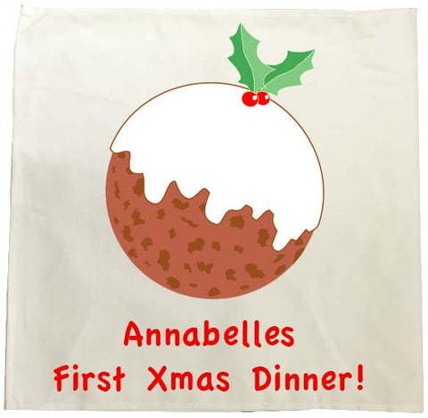 BB05 - Baby's First Christmas Pudding Personalised Tea Towel