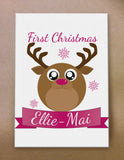 Starry Eyed Cute Santa's Reindeer Personalised Christmas Canvas Print