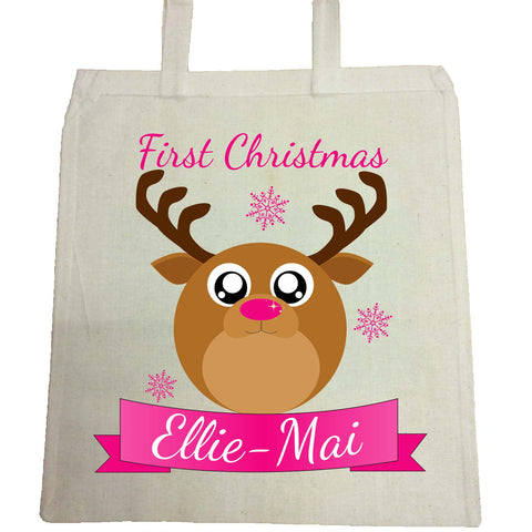 BB06 - Starry Eyed Cute Santa's Reindeer Personalised Christmas Canvas Bag for Life
