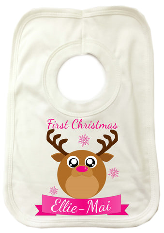 BB06 - Starry Eyed Cute Santa's Reindeer Personalised Christmas Baby Bib
