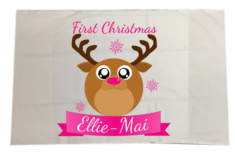 BB06 - Starry Eyed Cute Santa's Reindeer Personalised Christmas White Pillow Case Cover