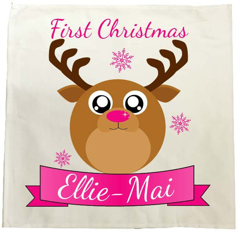 BB06 - Starry Eyed Cute Santa's Reindeer Personalised Christmas Tea Towel