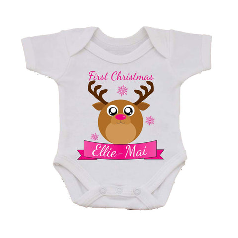 BB06 - Starry Eyed Cute Santa's Reindeer Personalised Christmas Baby Vest