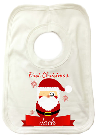 BB07 - Cute Santa's First Christmas Personalised Baby Bib