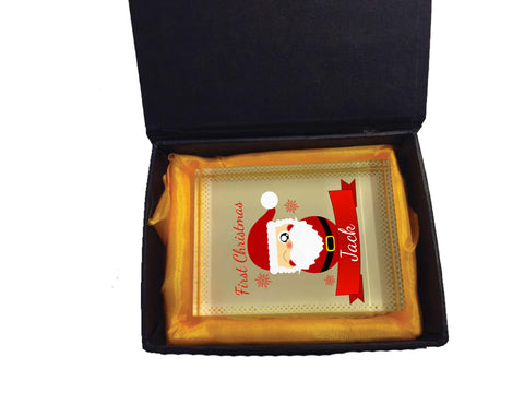 BB07 - Cute Santa's First Christmas Personalised Crystal Block with Presentation Gift Box