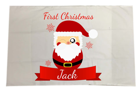 BB07 - Cute Santa's First Christmas Personalised White Pillow Case Cover