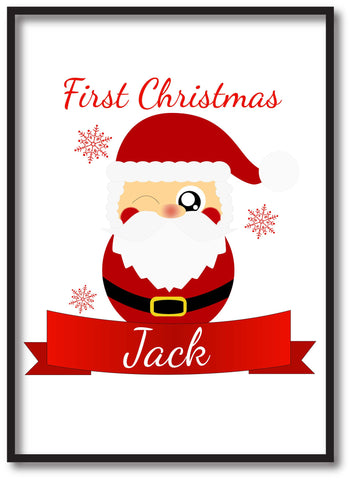 BB07 - Cute Santa's First Christmas Personalised Print