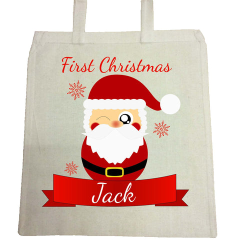 BB07 - Cute Santa's First Christmas Personalised Canvas Bag for Life