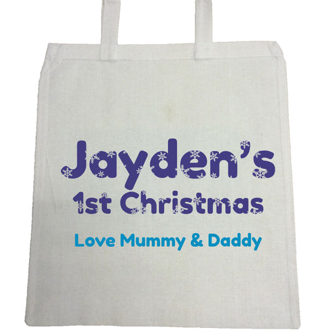 BB09 - Snowflake letters for Baby Personalised Canvas Bag for Life