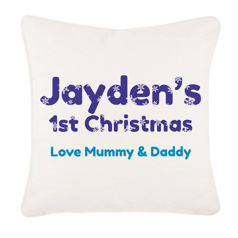 Snowflake letters for Baby Boy or Girl Personalised Canvas Cushion Cover