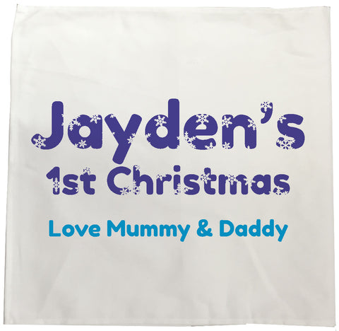 BB09 - Snowflake letters for Baby Personalised Tea Towel