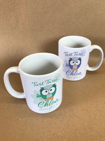 BB21 - Owl Personalised Mug & White Gift Box