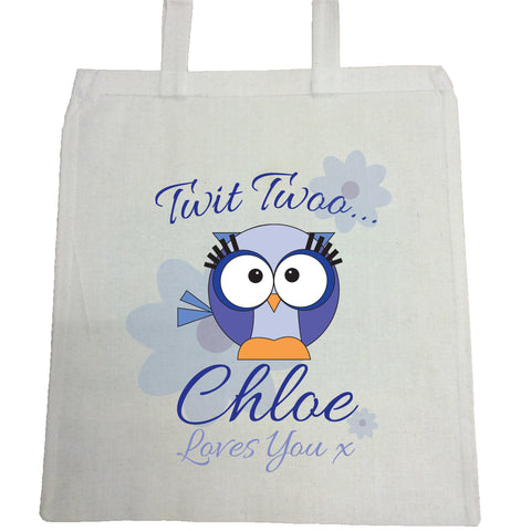 BB21 - Owl Personalised Canvas Bag for Life