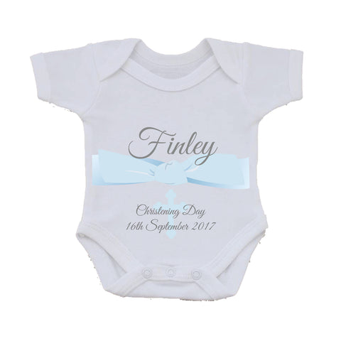 BC04 - Personalised Christening / Baptism Baby Vest - Baby Boy or Girl