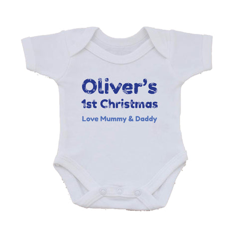 BB09 - Christmas Personalised Snowflake Baby Vest