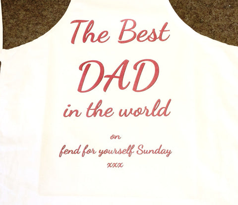 FD16 - The Best Dad in the World on Fend for Yourself Sunday Personalised Apron