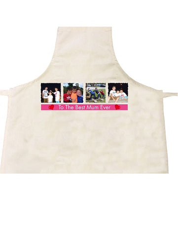 To The Best Mum Ever Personalised with 4 Photos and Message Adult & Child Aprons