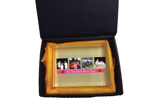 MO15 - Best Mum Ever Photo and Message Personalised Crystal Block with Presentation Gift Box