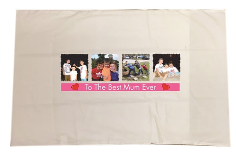 MO15 - Best Mum Ever Photo and Message Personalised White Pillow Case Cover