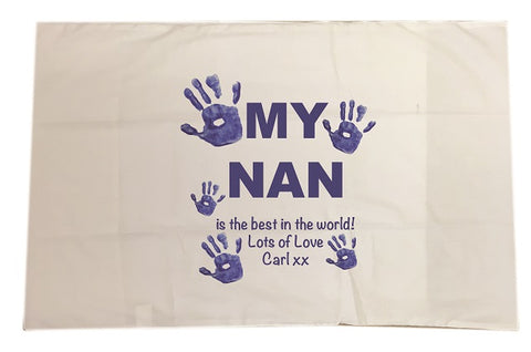 CB10 - My Mum/Nan is the best in the world! Lots of Love xx Personalised White Pillow Case Cover
