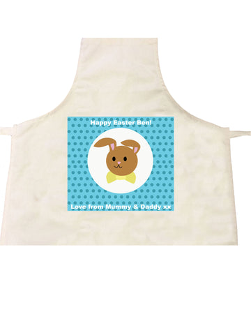 EA06 - Personalised Blue Spotty Easter Bunny Apron