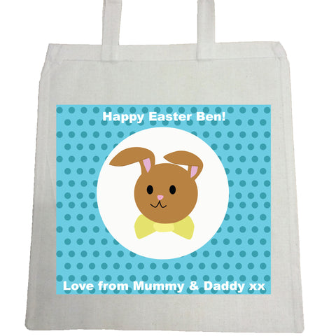 EA06 -  Personalised Blue Spotty Easter Bunny Canvas Bag