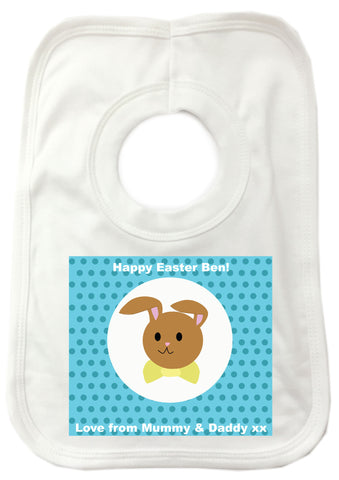 EA06 - Personalised Blue Spotty Easter Bunny Baby Bib