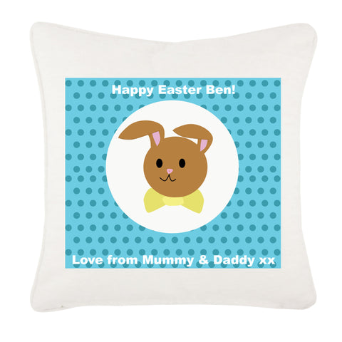 EA06 - Personalised Blue Spotty Easter Bunny Cushion