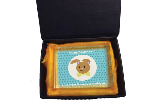 EA06 - Blue Spotty Easter Bunny Crystal Block with Presentation Gift Box
