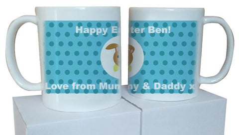 EA06 - Personalised Happy Easter (Name) Blue Spotty Easter Bunny Mug & White Box