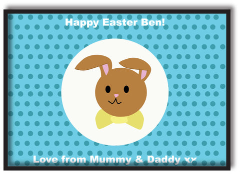 EA06 - Personalised Blue Spotty Easter Bunny Print