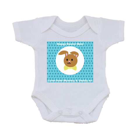 EA06 - Personalised Blue Spotty Easter Bunny Baby Vest