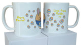 EA07 - Personalised Happy Easter (Name) Eggs and Bunny Mug & White Box