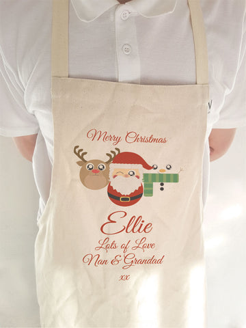 CA04 - Cute Reindeer, Santa and Snowman Christmas Personalised Apron