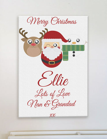 CA04 - Cute Reindeer, Santa and Snowman Christmas Personalised Canvas Print