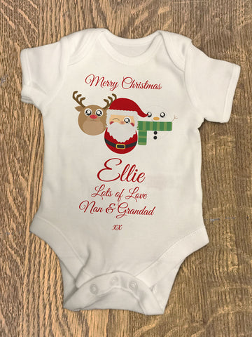 CA04 - Cute Reindeer, Santa and Snowman Christmas Personalised Baby Vest