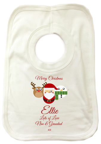 CA04 - Cute Reindeer, Santa and Snowman Christmas Personalised Baby Bib