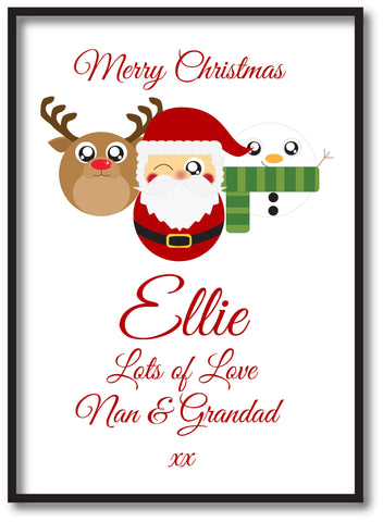 CA04 - Cute Reindeer, Santa and Snowman Christmas Personalised Print