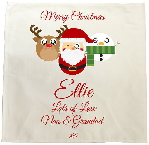 CA04 - Cute Reindeer, Santa and Snowman Christmas Personalised Tea Towel