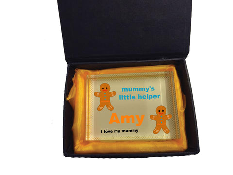 CB08 - Mummy's Little Helper Personalised Crystal Block with Presentation Gift Box