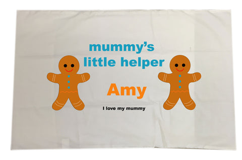 CB08 - Mummy's Little Helper Personalised White Pillow Case Cover