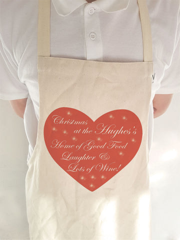 CA12 - Home of Good Food, Laughter and Lots of Wine Christmas Personalised Apron