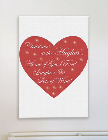 CA12 - Home of Good Food, Laughter and Lots of Wine Christmas Personalised Canvas Print
