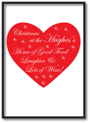 CA12 - Home of Good Food, Laughter and Lots of Wine Christmas Personalised Print